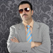 Nerd serious proud businessman sunglasses portrait - Stock Photo
