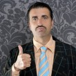 Nerd retro man businessman ok positive hand gesture - Stockfoto