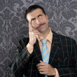 Nerd businessman pensive gesture silly funny retro — Stock Photo #5600385