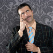 Stock Photo: Nerd businessmpensive gesture silly funny retro