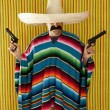 Bandit Mexican revolver mustache gunman sombrero — Stock Photo #5600392