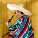 Bandit Mexican revolver mustache gunman sombrero — Stock Photo