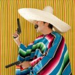 Bandit Mexican revolver mustache gunman sombrero - Foto Stock