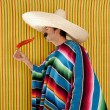 Chili hot pepper Mexican man typical poncho serape — Stok fotoğraf