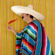 Chili hot pepper Mexican man typical poncho serape — Stock Photo
