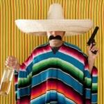 Bandit Mexican revolver mustache drunk tequila — Stock Photo