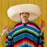Mexican mustache chili drunk tequila sombrero man — Stock Photo