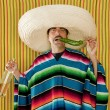 Mexican mustache chili drunk tequila sombrero man - Stock Photo