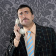 Nerd scared expression businessman telephone call - Stock Photo