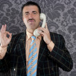 Happy ok gesture telephone man retro hand sign - Stok fotoğraf