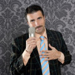 Stock Photo: Nerd retro mustache mmicrophone singing silly