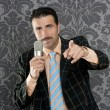Nerd businessman microphone leader point finger - Stock Photo