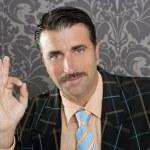 Nerd retro man businessman ok positive hand gesture — Stock Photo #5600580