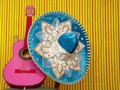 Mariachi embroidery mexican hat pink guitar — Stock Photo