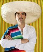 Mexican mustache man sombrero portrait shirt — Stock Photo