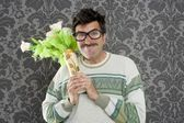 Anger funny man violent expression flowers vase — Stock Photo
