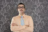Affärsman nörd porträtt retro glasögon tapeter — Stockfoto