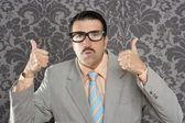 Nerd retro man businessman ok positive hand gesture — Stock Photo