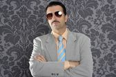 Nerd serious proud businessman sunglasses portrait — Stock Photo
