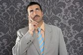 Nerd businessman pensive gesture silly funny retro — Stock Photo