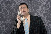 Nerd scared expression businessman telephone call — Stock Photo