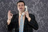 Happy ok gesture telephone man retro hand sign — Stock Photo