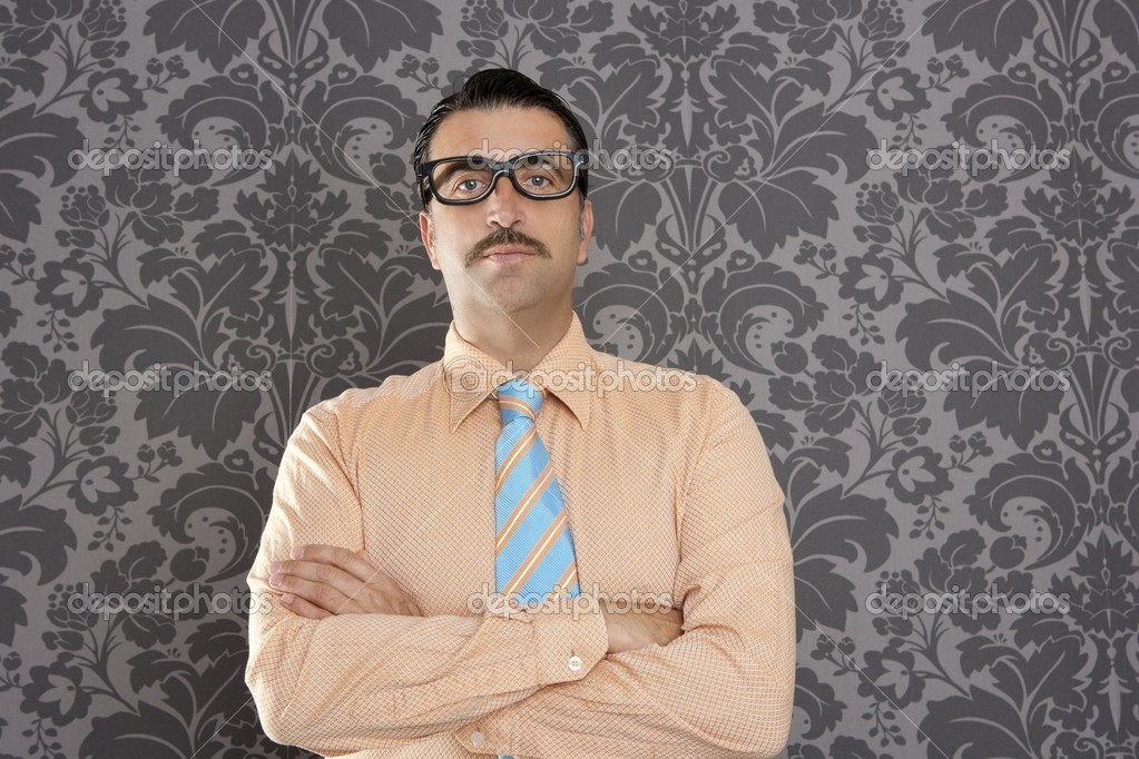 Businessman nerd portrait retro glasses wallpaper background — Stock Photo #5600334