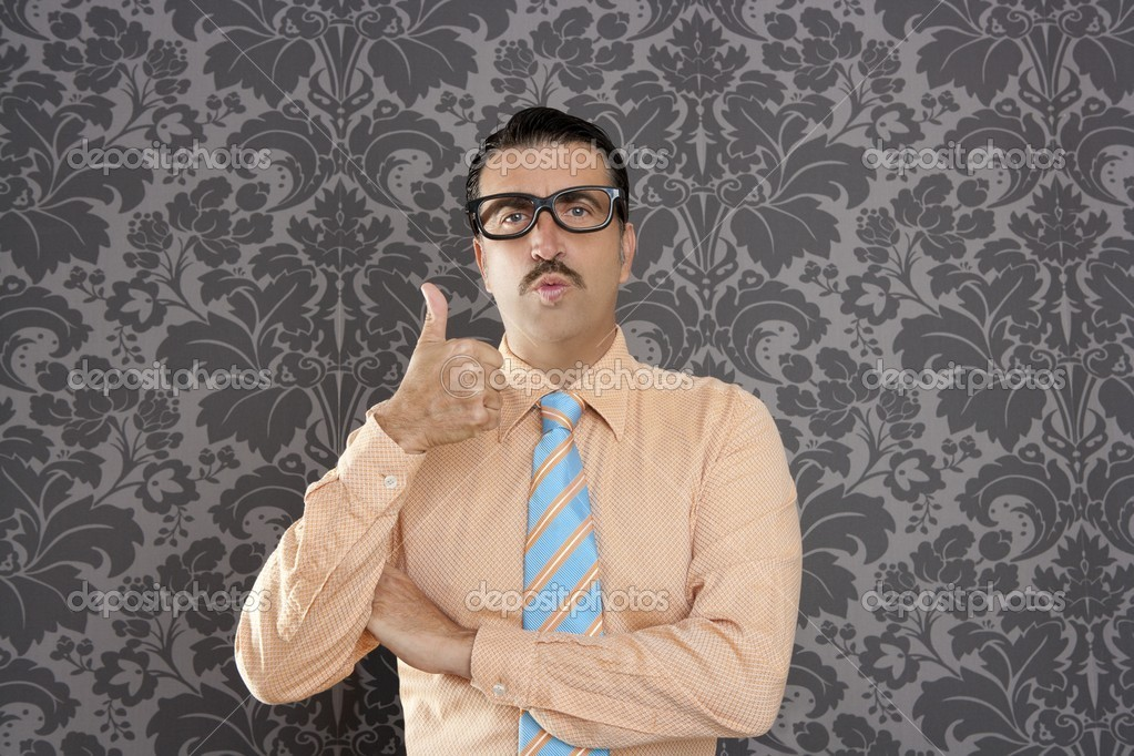 Nerd retro man businessman ok positive hand gesture wallpaper background  Stock Photo #5600337