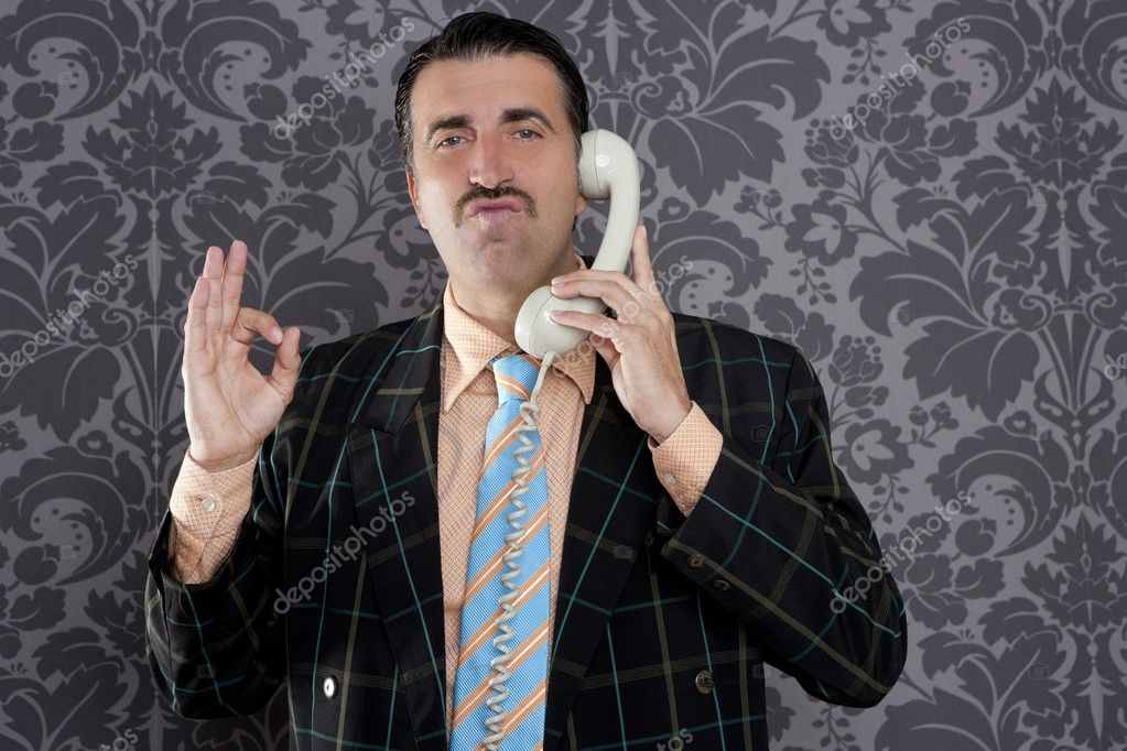Happy ok gesture telephone man retro hand sign mustache vintage wallpaper — Stock Photo #5600534