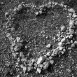 Black and white heart shape stones on soil — Stock Photo #5710980