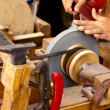Grinder traditional wheel hand tools sharpening knife - Stockfoto