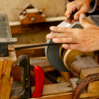 Grinder traditional wheel hand tools sharpening knife — Stock Photo