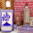 Arab mosaic deco tiles and fabric decoration — Stock Photo