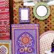 Arab mosaic deco tiles and fabric decoration — Foto de Stock
