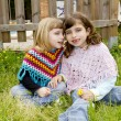 Children sister girls whisper in ear meadow spring — Stock Photo #5711593