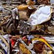 Iron scrap metal compacted to recycle — Stock Photo