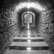 Stock Photo: Ibiza island tunnel way up to the castle light effect