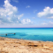 Illeta wooden pier turquoise sea Formentera — Stock Photo #5713392