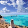 Illeta wooden pier turquoise sea Formentera - Stock Photo