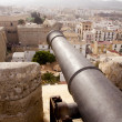 Cannon from Ibiza island castle dalt vila view balearic - Stock Photo