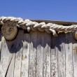 Stock Photo: Detail of wooden cabin roof