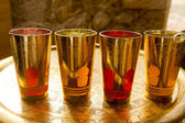 Arab peppermint tea golden glasses over golden tray — Foto Stock