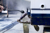 Boat hull cleaning water pressure washer — Stock Photo