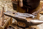 Blacksmith forged iron smith anvil hammerman — Stock Photo