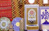 Arab mosaic deco tiles and fabric decoration — Stock Photo