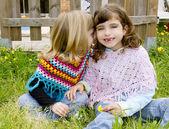 Children sister girls whisper in ear meadow spring — Stock Photo