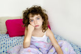 Brunette girl boring bed messy morning hair — Stock Photo