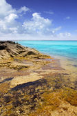 Formentera island Illetas rocky shore turquoise — Stock Photo