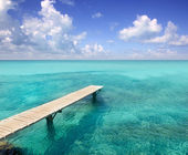 Illeta wooden pier turquoise sea Formentera — Stock Photo