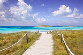 Beach way to Illetas paradise beach Formentera — Stock Photo